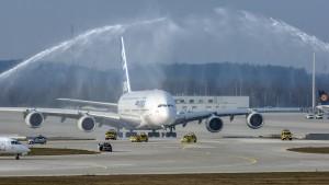 Flughafen München II (MUC II) am 28.03.2007: Airbus A380-841 (F-WWJB) Flugzeugtaufe