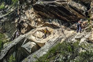 """Querung im Klettersteig """"Lehner-Wasserfall"""""""